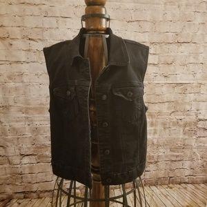 Wax jeans black denim vest